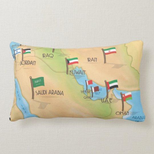 Middle East Map Lumbar Pillow