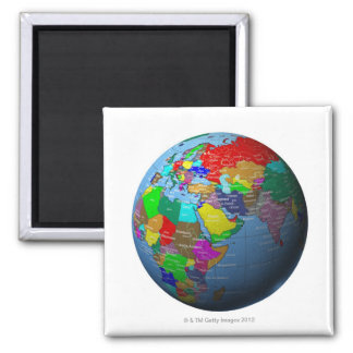 Middle East on Globe 2 Inch Square Magnet