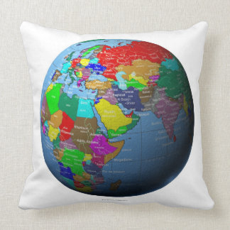 Middle East on Globe Throw Pillows