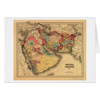 """Middle East """"Persia Arabia""""Panoramic Map Greeting Card"""