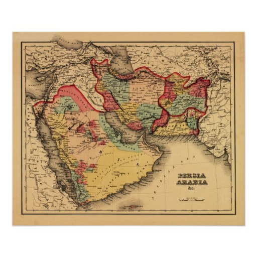 """Middle East """"Persia Arabia""""Panoramic Map Poster"""