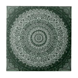 Middle eastern green hippy pattern ceramic tile