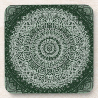 Middle eastern green hippy pattern drink coaster