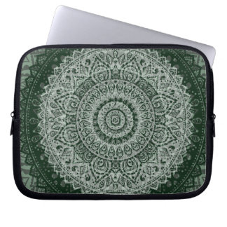 Middle Eastern Green Pattern Laptop Computer Sleeve