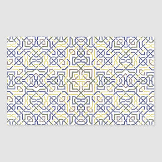 Middle Eastern Tile Pattern in Blue and Yellow Rectangular Sticker