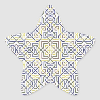 Middle Eastern Tile Pattern in Blue and Yellow Star Sticker