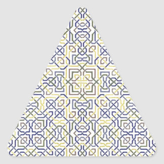 Middle Eastern Tile Pattern in Blue and Yellow Triangle Sticker