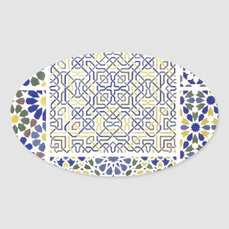 Middle Eastern Tile Patterns in Blue and Yellow Oval Sticker