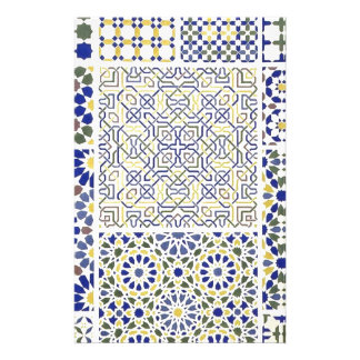 Middle Eastern Tile Patterns in Blue and Yellow Stationery