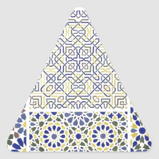 Middle Eastern Tile Patterns in Blue and Yellow Stickers