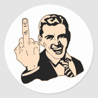 Middle Finger Salute Retro Classic Round Sticker