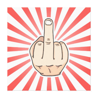 Middle finger with red stripes design canvas print