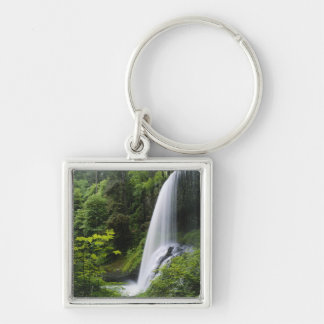 Middle North falls, Silver Falls State Park, Silver-Colored Square Keychain