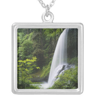 Middle North falls, Silver Falls State Park, Square Pendant Necklace