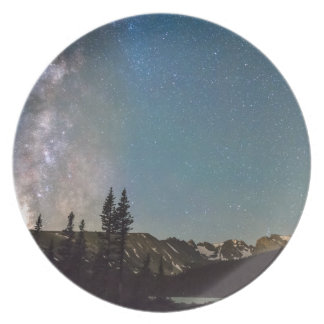 Middle of the Night Milky Way Rocky Mountains Dinner Plate