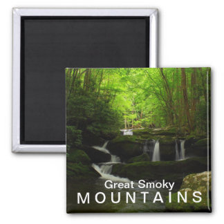 Middle Prong Tremont Cascade Waterfall 2 Inch Square Magnet