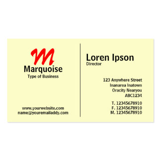 Middle Rule Monogram - Light Yellow (FFFFCC) Business Card