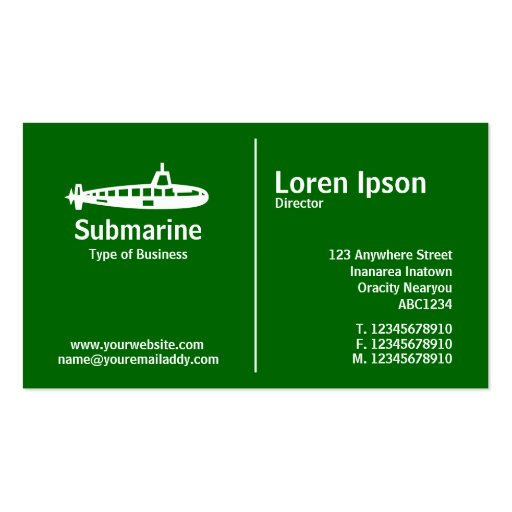 Middle Rule - Submarine - Grass Green Double-Sided Standard Business Cards (Pack Of 100)