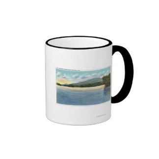 Middle Saranac Lake View of Mount Ampersand Ringer Coffee Mug