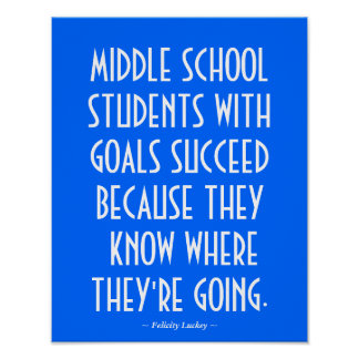 Middle School Classroom Poster in Light Blue