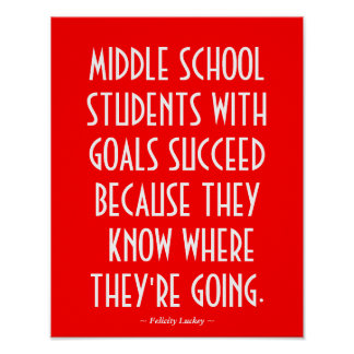 Middle School Classroom Poster in Red