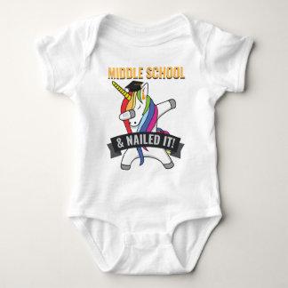 MIDDLE SCHOOL Nailed It Unicorn Dabbing Graduation Baby Bodysuit