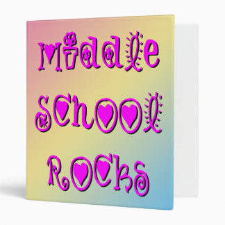 Middle School Rocks Hearts Flowers Binder
