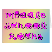 Middle School Rocks - Hearts Flowers Card