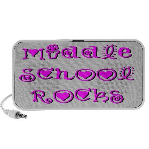 Middle School Rocks - Hearts Flowers Doodle Speakers