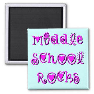 Middle School Rocks - Hearts Flowers Magnet