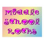 Middle School Rocks - Hearts Flowers Post Card