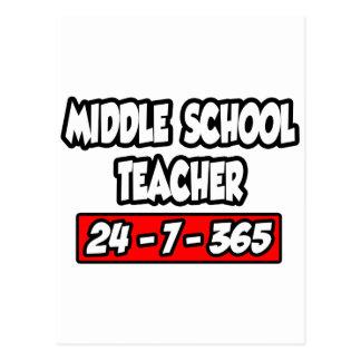 Middle School Teacher 24-7-365 Postcard