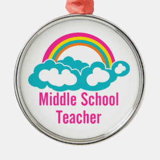 Middle School Teacher Round Metal Christmas Ornament