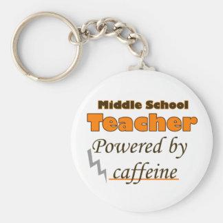 Middle school Teacher Powered by caffeine Keychain
