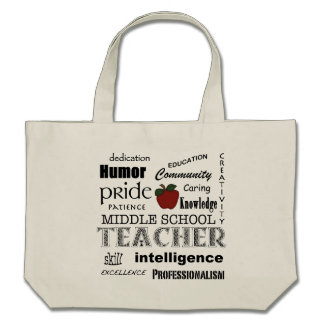 Middle  School Teacher Pride-Attributes+Red Apple Tote Bag