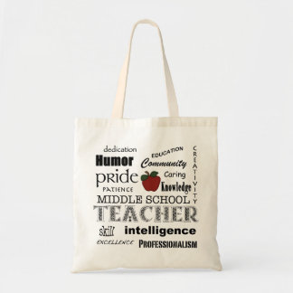 Middle  School Teacher Pride-Attributes+Red Apple Budget Tote Bag