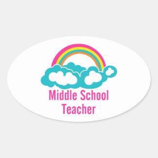 Middle School Teacher Oval Sticker
