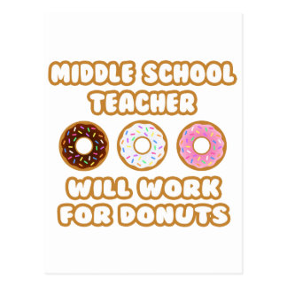 Middle School Teacher .. Will Work For Donuts Postcard