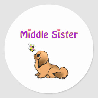 middle sister classic round sticker