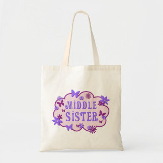 Middle Sister Pink Flower Butterfly Tote Budget Tote Bag