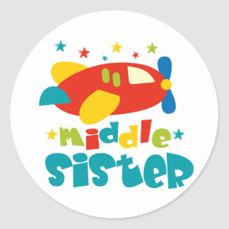 Middle Sister Plane Classic Round Sticker