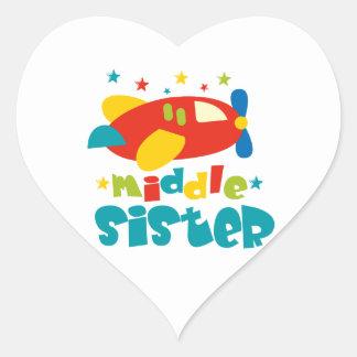 Middle Sister Plane Heart Sticker