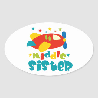 Middle Sister Plane Oval Sticker