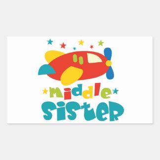 Middle Sister Plane Rectangular Sticker