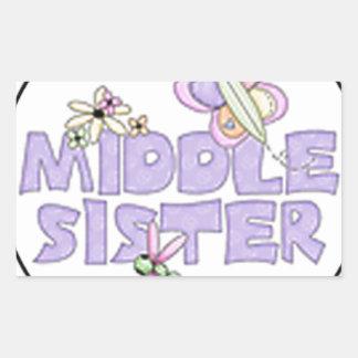 middle sister purple rectangular sticker