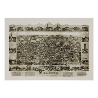 Middleborough, MA Panoramic Map - 1889 Poster