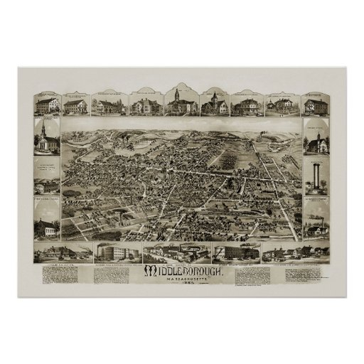 Middleborough, mapa panorámico del mA - 1889 Póster