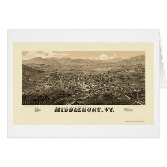 Middlebury, mapa panorámico del VT - 1886 Tarjeta De Felicitación
