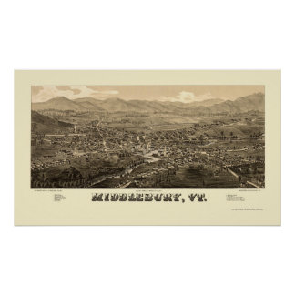 Middlebury, VT Panoramic Map - 1886 Posters