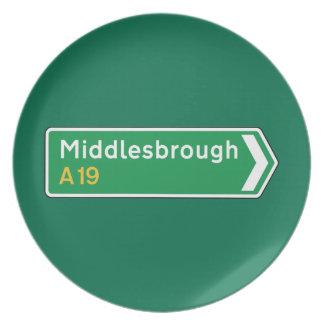 Middlesbrough señal de tráfico BRITÁNICA Plato De Cena